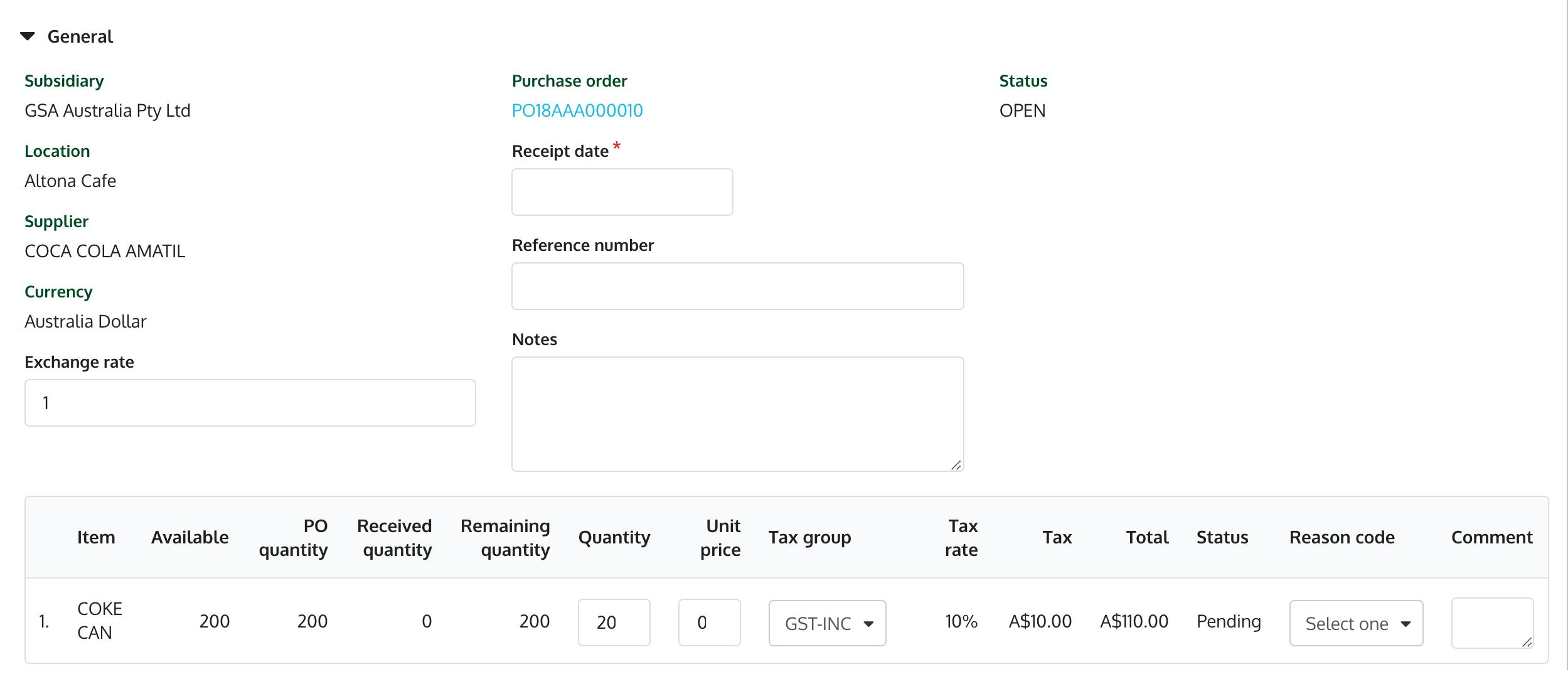 Item delivery details