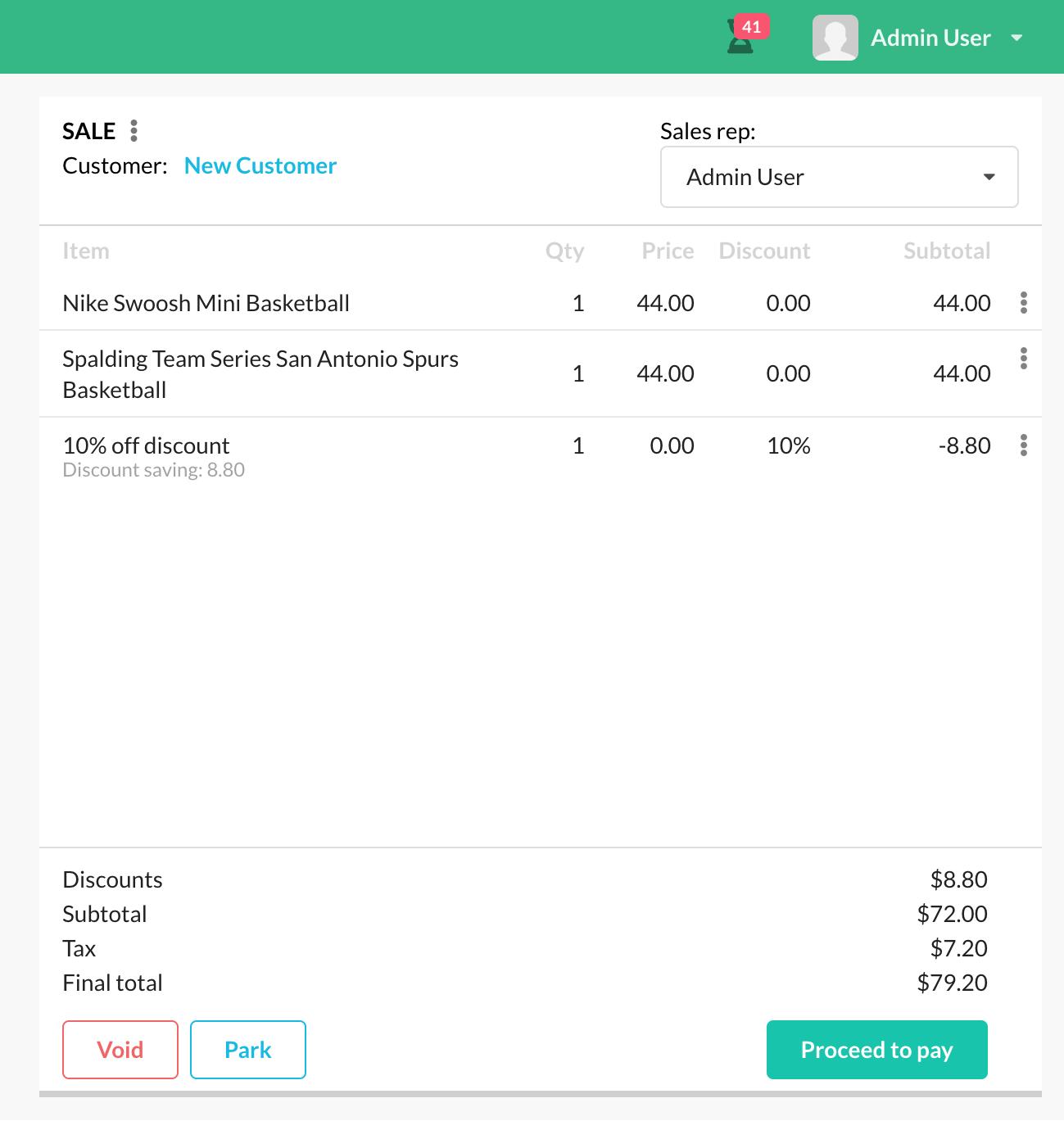 Transaction discount (cart)