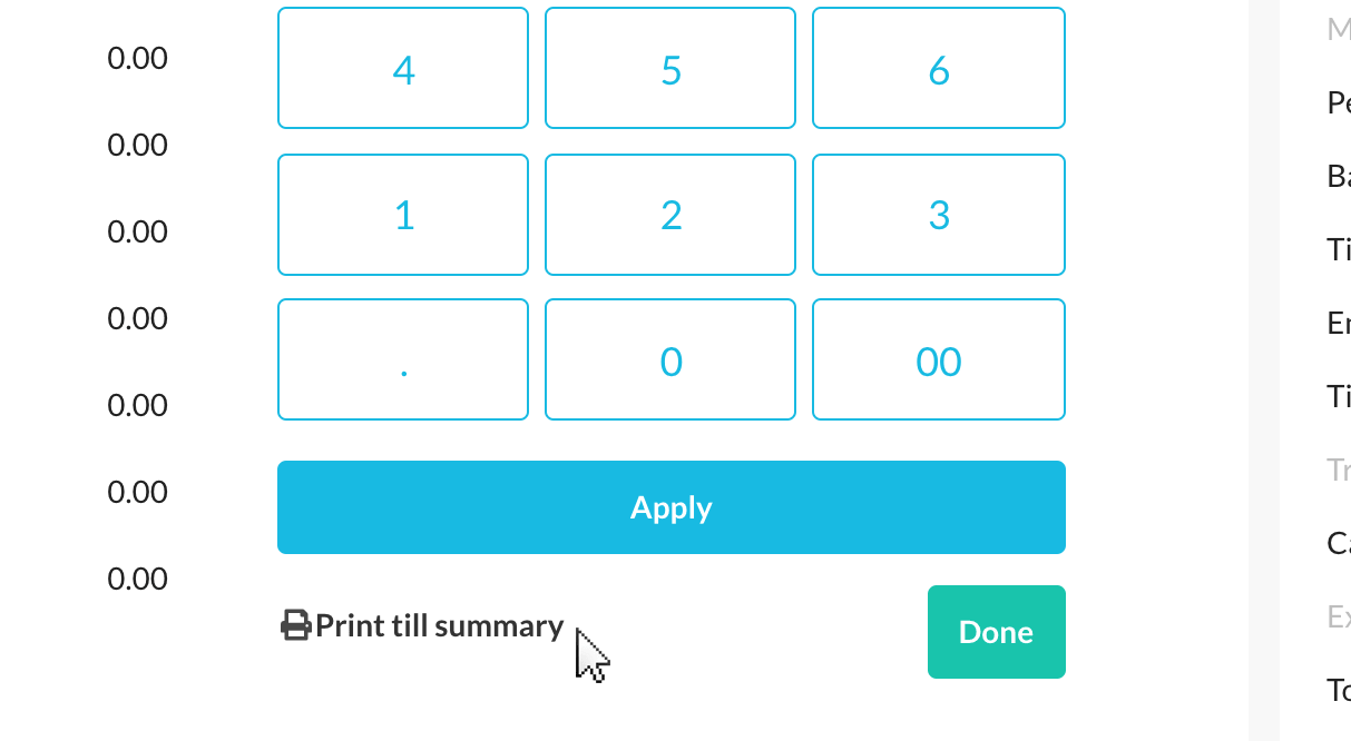 Print till summary button